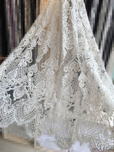 white LJY-6604 embroidery mesh nigerian tulle lace fabric nice looking French Net Lace Fabric with beads for bridal dress
