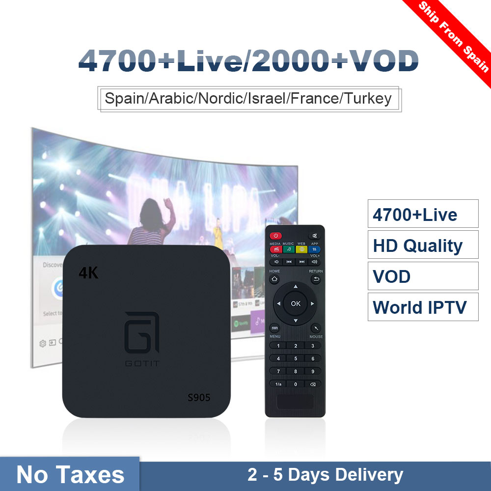 GOTiT S905 Spain Spanish IPTV Swedish Nordic Quad Core Android TV Box 1 Year Subscription Europe IPTV Channels iptv Smart TV Box