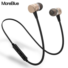 MoreBlue M98 Wireless Bluetooth Earphones Metal Magnetic Sport Running Headphones Stereo Super Bass Headsets Earbuds With Mic(China)