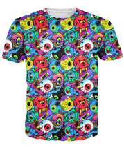 Eye T-Shirt an army of colorful eyeballs out for blood 3d print vibrant t-shirt summer t shirt tops tees for women men