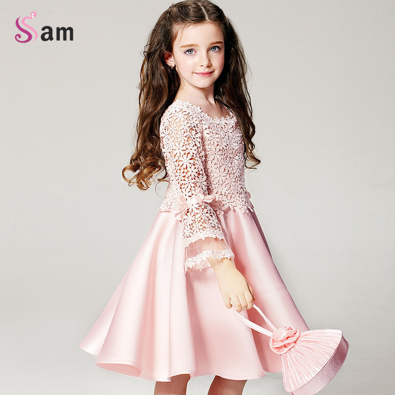 2017 summer new high quality fashion flower girl princess dress lace long sleeve round neck children clothes free shipping<br><br>Aliexpress