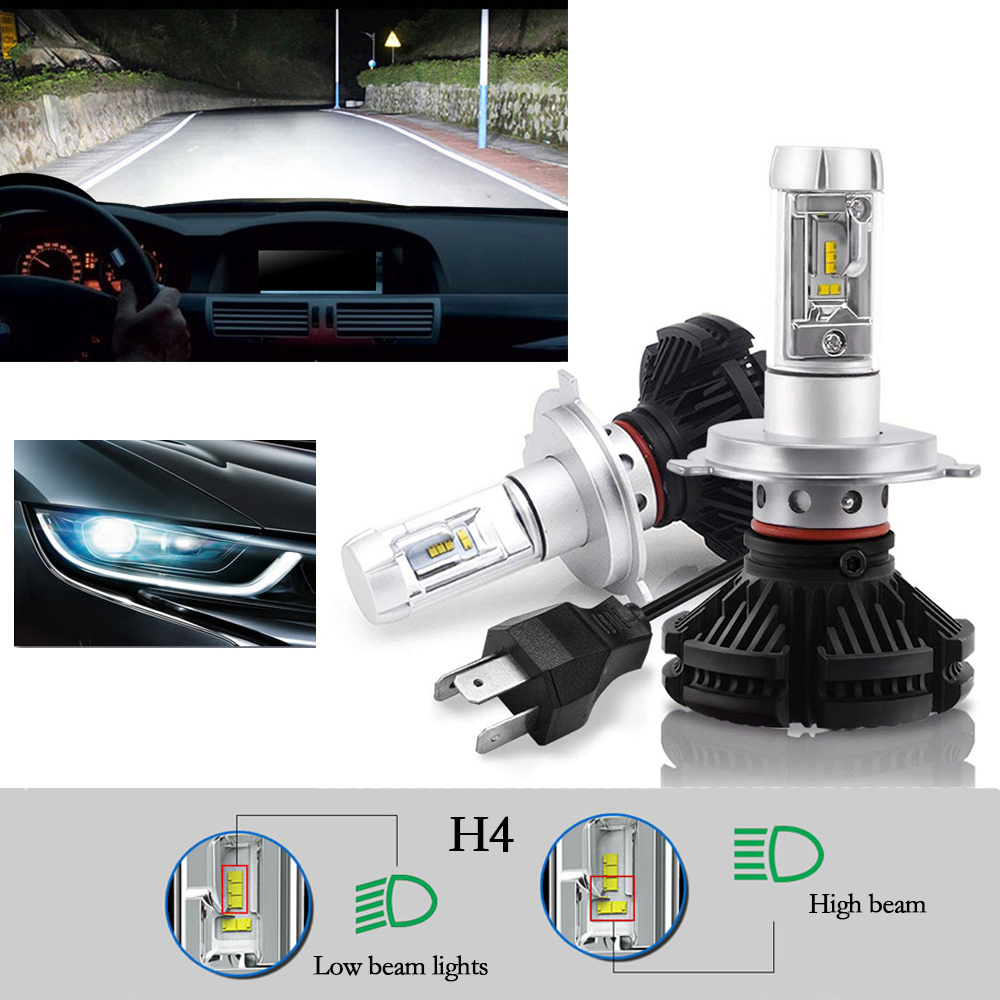 H4 100W 12000LM LED Car Headlight Conversion Kit COB Bulb 8000K High Low Beam