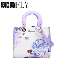 KMFFLY print luxury China wind flower shoulder bag women's designer handbags with high quality brands for vertical square purple