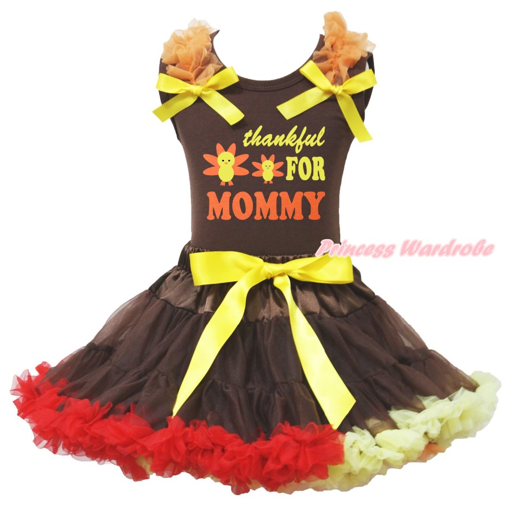 Brown Cotton Shirt Brown Red Yellow Skirt Girl Outfit Set Thankful For Mommy Thanksgiving Costume 1-8y LKPO0064<br>