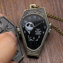 Popular Nightmare Before Christmas Vintage Quartz Pocket Watch Necklace Pendant for Chirldren Mens Womens Relogio De Bolso Gifts(China)