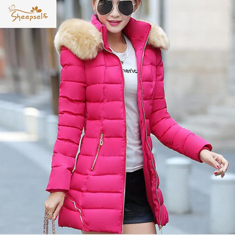 Women Winter Parkas Coats 2017 New Winter Faux Fox Fur Collar Thick Solid Down Cotton Long Casaco Plus Size Femme Jackets WC81Одежда и ак�е��уары<br><br><br>Aliexpress