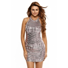 Women Summer Sexy Sparkling Sequin Tank Mini Party Dress Strapless Sleeveless Paillette Bodycon Package Hip Night Club Dresses(China)