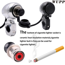 Motorbike Cigarette Lighter Socket 12V Silver/ Black Metal Cigarette Lighter Socket Adapter With Cigarette Butts For Harley