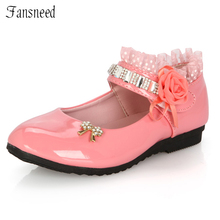 2017 female child black leather performance shoes female child white leather princess single shoes