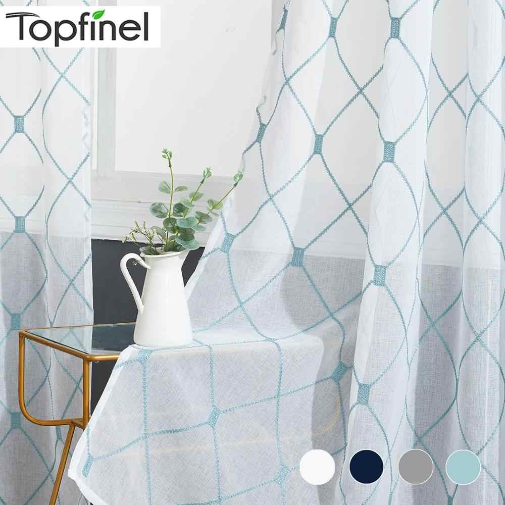 Topfinel Geometric Pattern Design Embroidered White Sheer Curtains Voile Tulle Window Curtains for Kitchen Living Room Bedroom