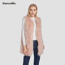 Gorgeion Real Fur Women Vest Fashion O-Neck Mid-long Pink Turkey Fur Coat Winter Women Jacket Sleeveless Vest Top ZC-07(China)