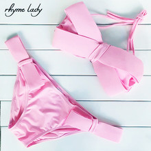 rhyme lady 2017 sexy bikini women swimwear tong bottom push up bathing suit cross top halter strap bandage design biquini(China)