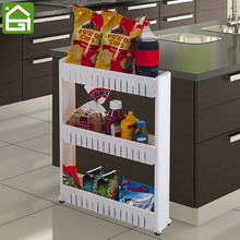 Mobile Shelving Unit Organizer with 3 Large Storage Baskets Narrow Space Saver Slim Pantry Storage Rack for Kitchen Bathroom