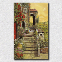 The country road scenery oil painting printed on canvas wall arts for living room decoration pictures