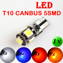 T10 5SMD CANBUS 5050 SMD W5W 194 LED Error Free Car Light Auto Bulb White / Blue / Yellow / Red Color CAN BUS Automotive Lamp