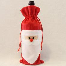 2016 Cute Red Wine Bottle Cover Bags Santa Claus Dinner Table Decoration Clothes With Hats Home Party Decor Christmas Decoration