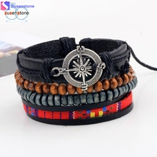SUSENSTONE New Men's Braided Leather Stainless Steel Cuff Bangle Bracelet Wristband(China)