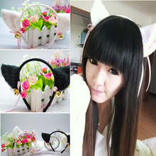 2017 Women Fashion Charming Beautiful High Quality White / Black Fox Cat Ear Fur Hair Clip Hairband Bell Hairwear(China)