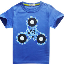 EDC Hand Spinner Boy T-shirt Children Printing Top Tees Short Sleeve Tri-Spinner Fidget T Shirt Kids Clothing Baby Girls Clothes