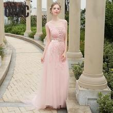 Real Photo Simple Long Dres 2017 Summer Style Pink Prom Dress Fashion Lace Up Wedding Party Dress Girls Vestidos De Novia(China)