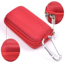 Red Rectangle Shaped Hard Headset EVA Case Bag And Climbing Carabiner for MP3/MP4 Bluetooth Earphone Earbuds with Mesh Pocket(China)
