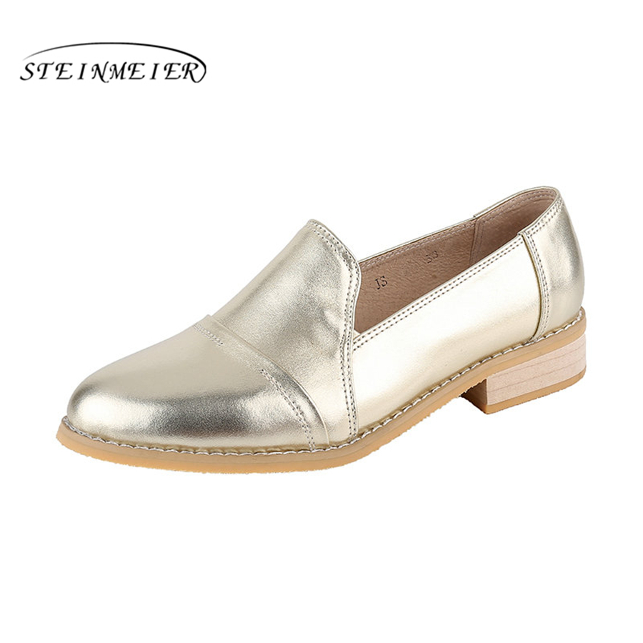 Women genuine leather casual designer vintage flat shoes round toe handmade gold silver oxford shoes for women <br>