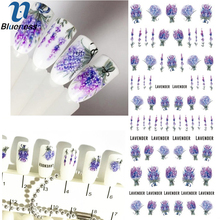 Blueness 1Pcs 3D Lavender Flower Nails Art Water Stickers Manicure UV Gel Transfer Decals For Manicure Decorations Accessories(China)