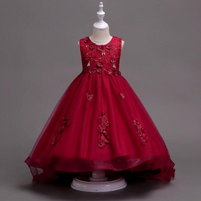 Girl dress Lace Flower Princess Dress of Girls Baby Girl Formal Dresses Long Tailing Girl Party Wedding Dress 2018 New<br>