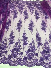 David-51203 nice looking Embroidered African Guipure French lace fabric 3d flower mesh tulle nigerian cord lace fabric