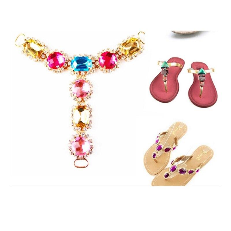 Lady Women shoes sandals decoration summer Slippers Jelly Flip Flops Sandals shoe charms shoe decor  chain accessories 2pcs<br><br>Aliexpress
