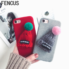 New Fashion for IPhone 6 Case Warm Fur Ball Case Plush 3D Hat Phone Case for Iphone 6 6s 6plus 7 7plus 5SE Luxury Back Cover Bag