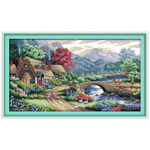 NEW !!Farm scene Counted Cross Stitch 11 14CT Cross Stitch Sets landscape Cross Stitch Kits for Embroidery Home Decor Needlework(China)