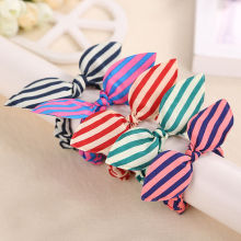 10x Fashion Stripe Scrunchies Hair Rope Elastic Bow Bunny Rabbit Ponytail Holder