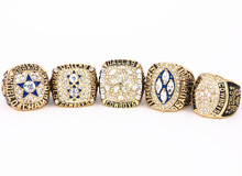USA size 6 to 15! 5PCS 1971 1977 1992 1993 1995 Dallas Cowboys Super Bowl championship rings replica solid ring drop shipping(China)