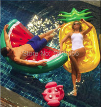 Watermelon Slice Island Inflatable Pineapple Life Raft Water Flamingo Drink Holder Bali Holiday Pool Float Summer Toys Air Mat(China)