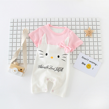 Little Pink Hello Kitty Baby Girl Rompers Short Sleeve Baby Pajamas Cartoon Baby Girls Clothes Cotton Romper Bowknot Bibs