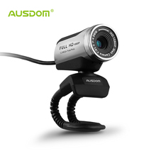 Ausdom AW615 1080p usb 2.0 hd webcam camera computer web camera with microphone for pc laptop free driver web cam(China)