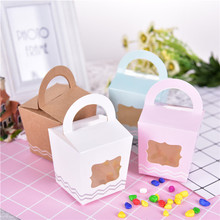 12pc/lot Small Cake Portable Paper Basket Wedding Candy Boxes Internally Visible Party Wedding Favors Tiny Baking Cake Gift Box