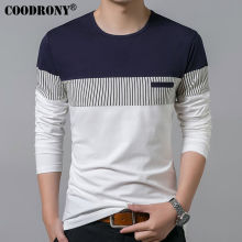 COODRONY T-Shirt Men 2017 Spring Summer New Long Sleeve O-Neck T Shirt Men Brand Clothing Fashion Patchwork Cotton Tee Tops 7622(China)