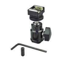 Hot Shoe Adapter 360 Degree Swivel Ball Head with Hot Shoe and Cold Shoe Base for LCD Monitor, Flash, LED Light, Microphone -104(China)