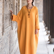 Plus Size Summer Dress Women Vintage Casual Loose Solid Long Maxi Dresses Long Sleeve O Neck Yellow Cotton Vestidos Large Size