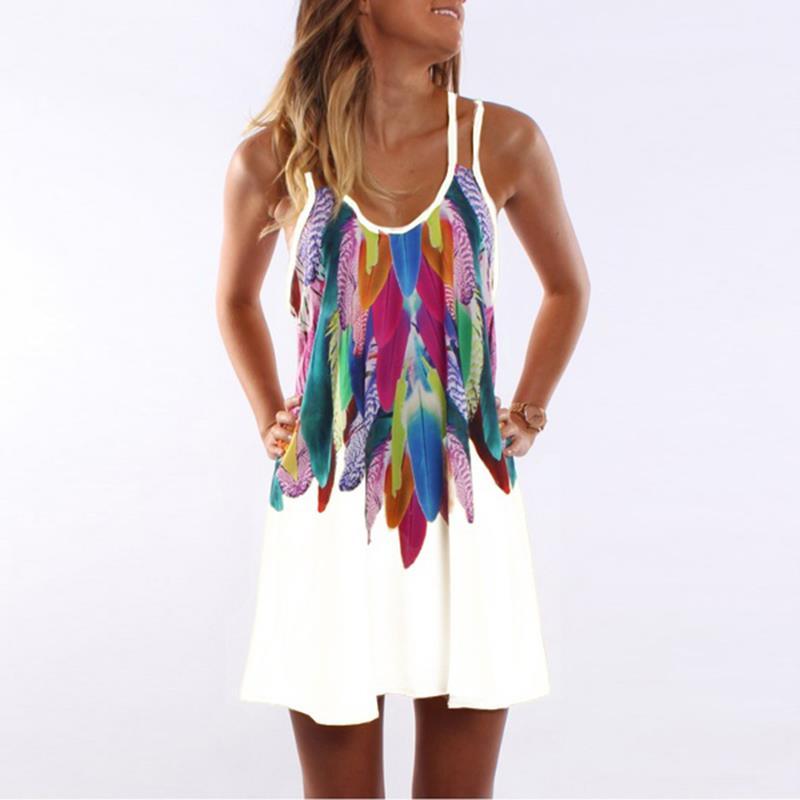 Women Bohemian Dress Feather Printed Beach Dress Causal Loose Spaghetti Strap Short Summer Dress S-5XL Plus Size Robe WS804O 2