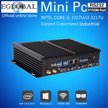 Fanless Mini PC Windows 7/8/10 Core i5 3317U i3 3217U Dual Nics 4*RS232 COM industrial PC Rugged computer 300M Wifi BT HDMI+VGA