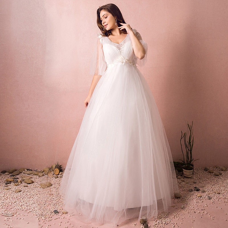 Plus Size V-neck Beading Flower Lace Vestidos De Novia Pleated Tulle A-line Maxi Wedding Dresses Half Sleeve Robe De Marriage