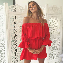 Summer Mini Dess Women Fashion Lady Flare Sleeve Dress Sexy Off Shoulder Loose Dresses Holiday Vestido Party Beach Club Apr26