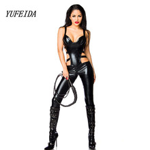 Buy Sexy Black Female Faux Leather Catsuit PVC Suspenders Latex Bodysuit Stretch Clubwear Erotic Pole Dance Jumpsuit Playsuit