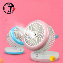 Multifunction Rechargeable Fan Support Porwer Bank Humidifier Portable Air Fans for Home Mini Ventilador Air Conditioning 2000mA(China)