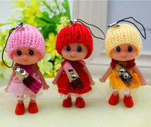 5pcs mobile phone strap Charms girl Hairball hanging figures Hot New doll(China)