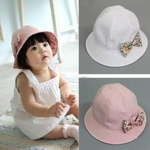 Kids Newborn Baby Infant Lace Floral Bowknot Flower Bonnet Hats Sun Hat Bucket