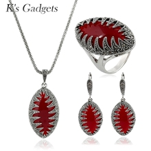 New Arrival Natural Stone Silver Plated  Vintage Black Jewelry Sets Marquise Shape Zircon Necklace Earring Ring Set